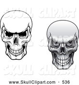 Vector Clip Art of a Pair of Scary Evil Human Skulls Grinning by Vector Tradition SM