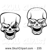 Vector Clip Art of a Pair of Scary Skull Designs by Vector Tradition SM