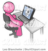 Vector Clip Art of a Pink Doctor Man Sitting at a Laptop Computer and Viewing an Xray of a Head by Leo Blanchette