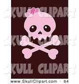 Vector Clip Art of a Pink Girly Skull and Crossbones over a Brown Background by Pushkin