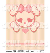 Vector Clip Art of a Pink Girly Skull with a Heart over a Stripe Background by Pushkin