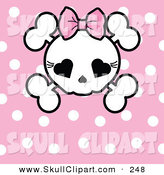 Vector Clip Art of a Pink Polka Dot Background with a Girly Skull by Pushkin