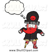 Vector Clip Art of a Pirate Captain with a Thought Bubble by Lineartestpilot