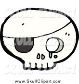 Vector Clip Art of a Pirate Skull with an Eye Patch by Lineartestpilot