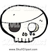 Vector Clip Art of a Pirate Skull with an Eyepatch by Lineartestpilot