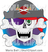 Vector Clip Art of a Pirate's Skull and Crossbones with a Hat, Eye Patch and a Staring Green Eye by Maria Bell