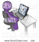 Vector Clip Art of a Purple Doctor Person Sitting at a Computer and Viewing an Xray of a Head by Leo Blanchette