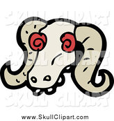 Vector Clip Art of a Ram's Skull with Creepy Red Eyes by Lineartestpilot