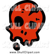Vector Clip Art of a Red Cracked Skull by Lineartestpilot