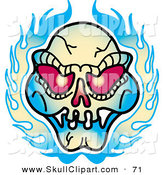 Vector Clip Art of a Red Eyed Evil Skull and Flames Tattoo Design on White by Andy Nortnik