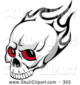 Vector Clip Art of a Red Eyed Skull and Black Flames for Halloween by Vector Tradition SM