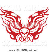 Vector Clip Art of a Red Flaming Skull Motorcycle Biker Handlebars by Vector Tradition SM