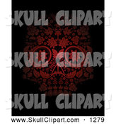 Vector Clip Art of a Red Floral Day of the Dead Skull on Black by Lineartestpilot