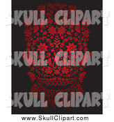 Vector Clip Art of a Red Floral Day of the Dead Skull over Black by Lineartestpilot