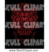 Vector Clip Art of a Red Flowered Day of the Dead Skull over Black by Lineartestpilot