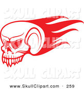 Vector Clip Art of a Red Flying Flaming Skull Logo by Vector Tradition SM