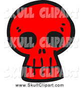 Vector Clip Art of a Red Monster Skull by Lineartestpilot