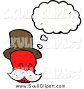 Vector Clip Art of a Red Mustached Skull Wearing a Top Hat Thinking by Lineartestpilot