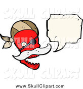 Vector Clip Art of a Red Pirate Skull Talking by Lineartestpilot