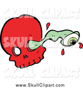 Vector Clip Art of a Red Skull and Eyeball Through a Socket by Lineartestpilot