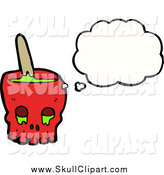 Vector Clip Art of a Red Skull Bowl of Slime by Lineartestpilot