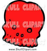 Vector Clip Art of a Red Skull by Lineartestpilot