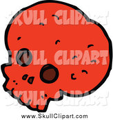 Vector Clip Art of a Red Skull Facing Slightly Left by Lineartestpilot