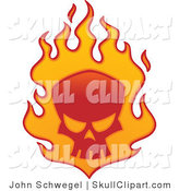 Vector Clip Art of a Red Skull in Orange Flames on White by John Schwegel