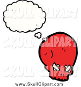May 11th, 2015: Vector Clip Art of a Red Skull in Thought by Lineartestpilot