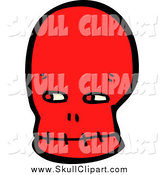 Vector Clip Art of a Red Skull Looking to the Side by Lineartestpilot