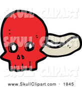 Vector Clip Art of a Red Skull Mask by Lineartestpilot