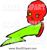 Vector Clip Art of a Red Skull Puking a Green Electrical Bolt by Lineartestpilot