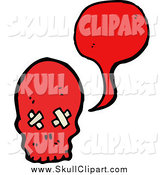 Vector Clip Art of a Red Skull Talking by Lineartestpilot