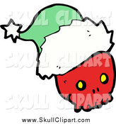 Vector Clip Art of a Red Skull Wearing a Green Santa Hat by Lineartestpilot