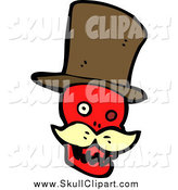 Vector Clip Art of a Red Skull with a Blond Mustache and Top Hat by Lineartestpilot