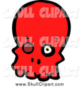 Vector Clip Art of a Red Skull with a Missing Eye by Lineartestpilot