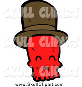 Vector Clip Art of a Red Skull with a Top Hat by Lineartestpilot