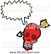 Vector Clip Art of a Red Skull with an Arrow Speaking by Lineartestpilot