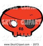 Vector Clip Art of a Red Skull with an Eyepatch by Lineartestpilot