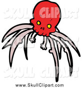 Vector Clip Art of a Red Skull with Creepy Legs by Lineartestpilot