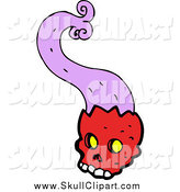 Vector Clip Art of a Red Skull with Purple Smoke by Lineartestpilot