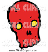 Vector Clip Art of a Red Skull with Yellow Eye Sockets by Lineartestpilot