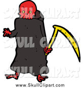 Vector Clip Art of a Red Skulled Grim Reaper Holding a Scythe by Lineartestpilot