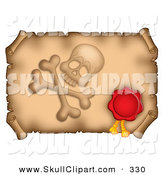 Vector Clip Art of a Red Wax Seal and Skull with Crossbones on a Horizontal Parchment Page by Visekart