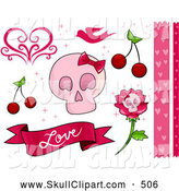 Vector Clip Art of a Romantic Pink Feminine Skull and Love Border and Design Elements by BNP Design Studio
