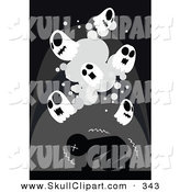 Vector Clip Art of a Scared Black Man Shaking Under Skull Ghosts by Mayawizard101