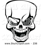 Vector Clip Art of a Scary Angry Black and White Skull by Vector Tradition SM