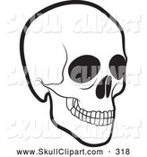 Vector Clip Art of a Scary Black and White Human Skull by Lal Perera