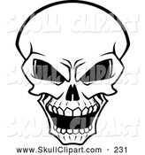 Vector Clip Art of a Scary Glaring Bleached Skull by Vector Tradition SM