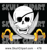 Vector Clip Art of a Scary Pirate Skull and Cross Swords on Black by Visekart